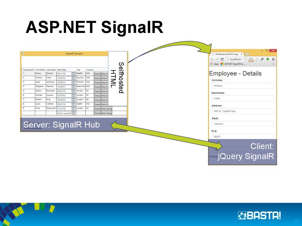 ASP.NET SignalR 25 Server: SignalR Hub Client: ...