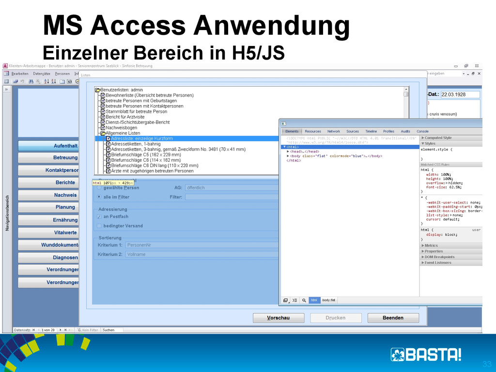 MS Access Anwendung Einzelner Bereich in H5/JS ...
