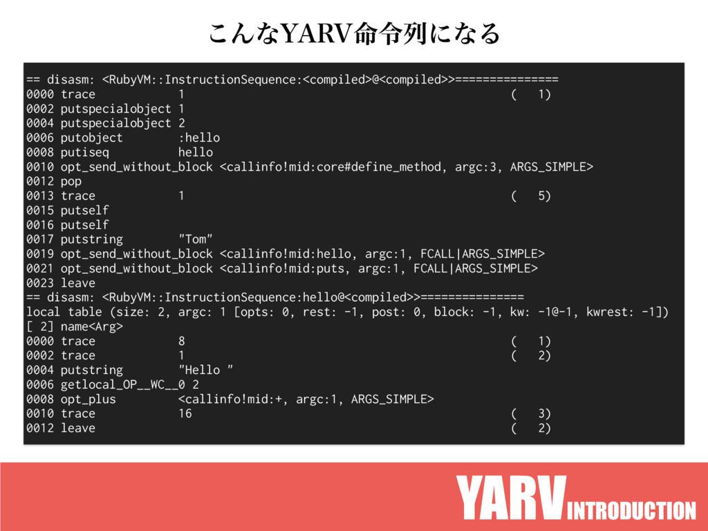 YARVINTRODUCTION == disasm: <RubyVM::Instructio...