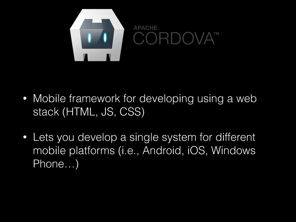 • Mobile framework for developing using a web s...