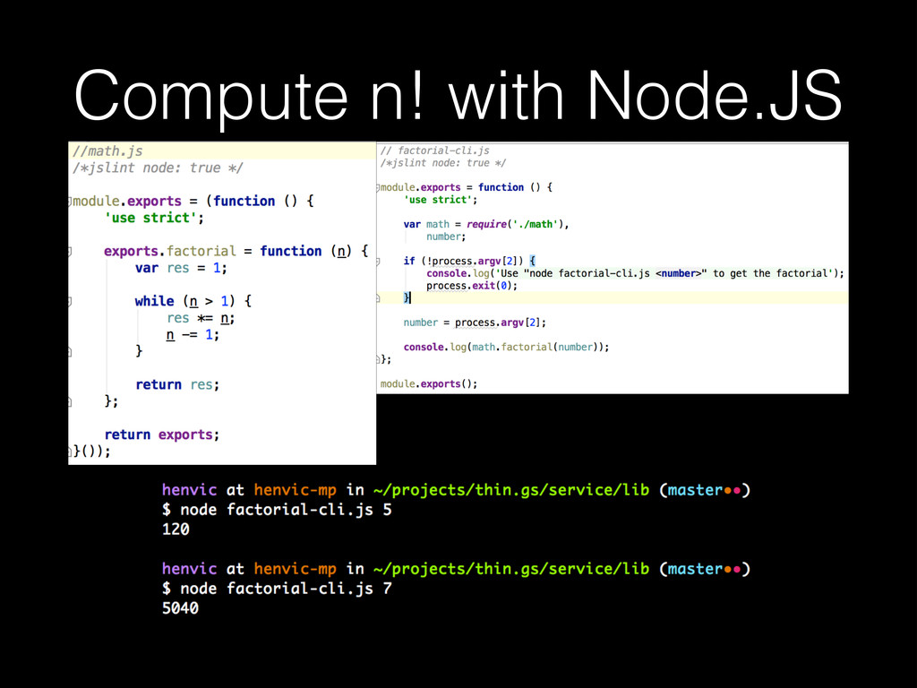 Compute n! with Node.JS