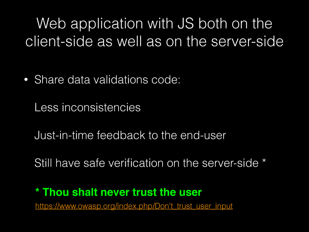 Web application with JS both on the client-side...