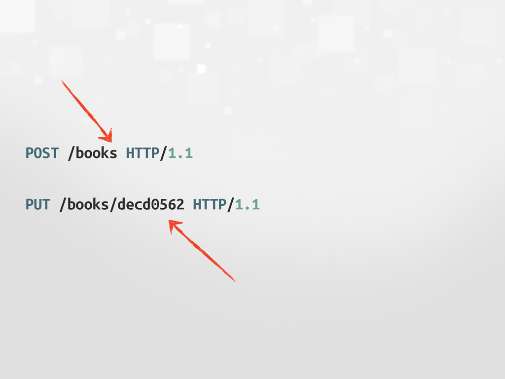 POST /books HTTP/1.1 PUT /books/decd0562 HTTP/1...