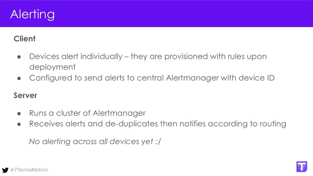 @ThanosMetrics Alerting Client ● Devices alert ...