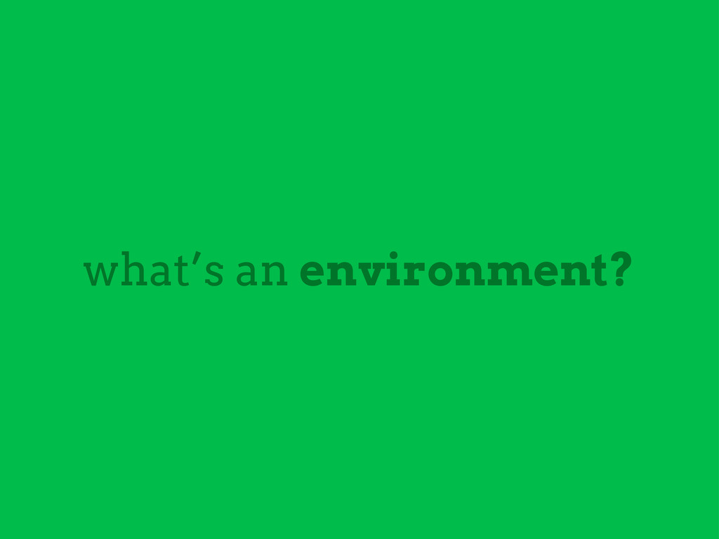 what's an environment?