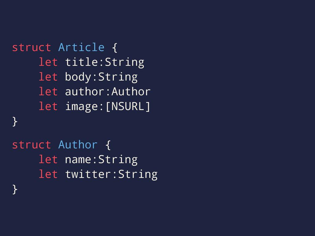 struct Article { let title:String let body:Stri...
