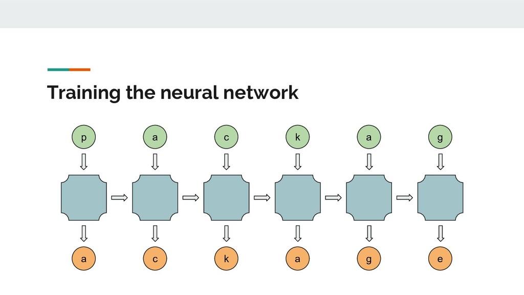 Training the neural network p a c k a g e a c k...