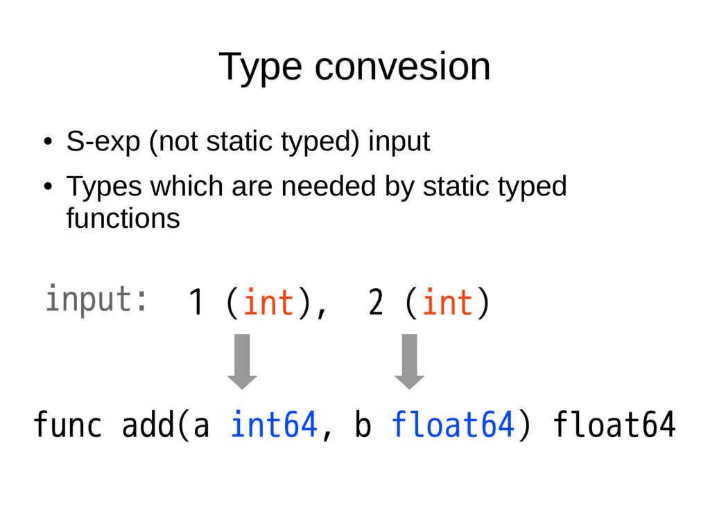 Type convesion ● S-exp (not static typed) input...