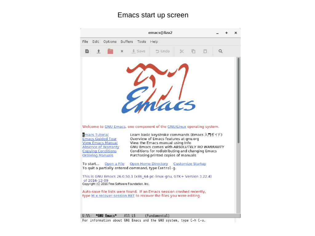 Emacs start up screen
