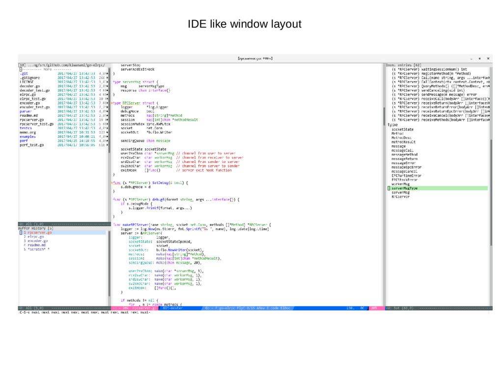 IDE like window layout