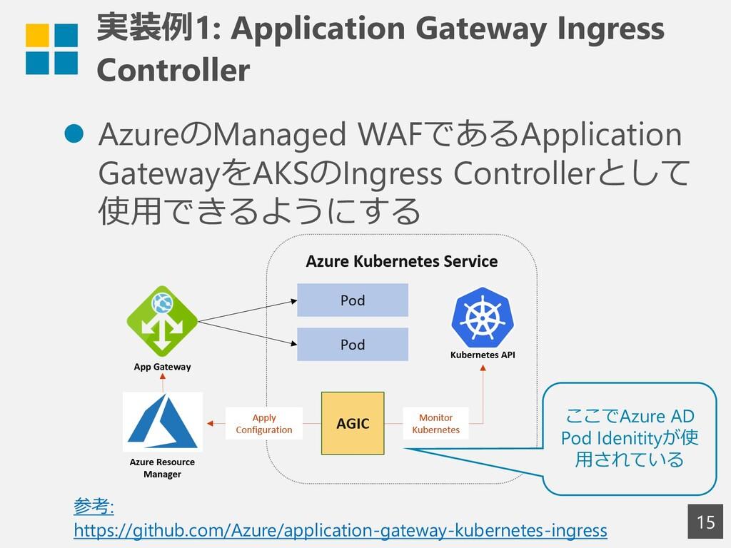 実装例1: Application Gateway Ingress Controller ⚫ ...