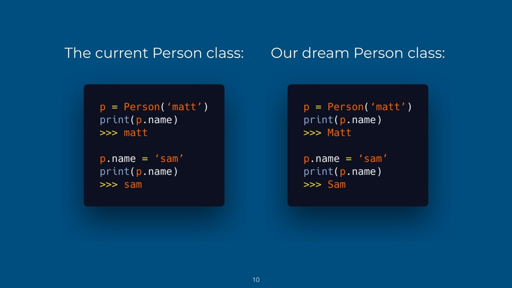 The current Person class: Our dream Person clas...