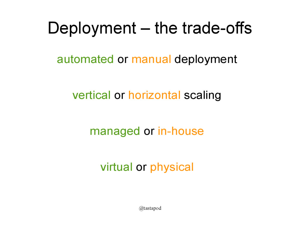 @tastapod Deployment – the trade-offs automated...