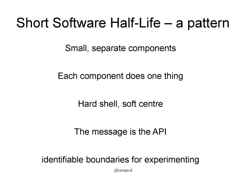 @tastapod Short Software Half-Life – a pattern ...