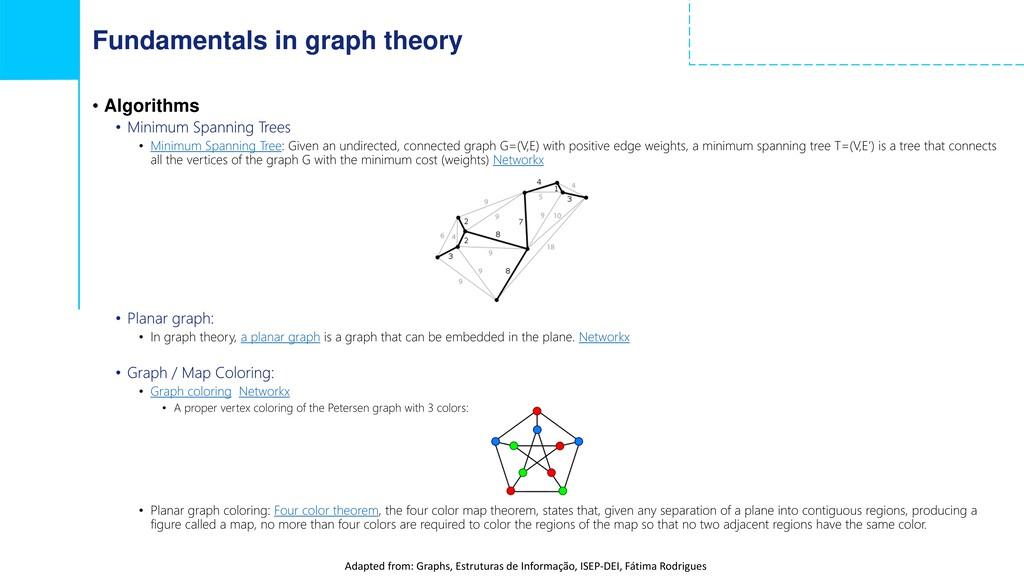 Fundamentals in graph theory • Algorithms • Min...