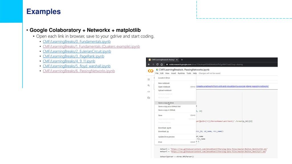 Examples • Google Colaboratory + Networkx + mat...
