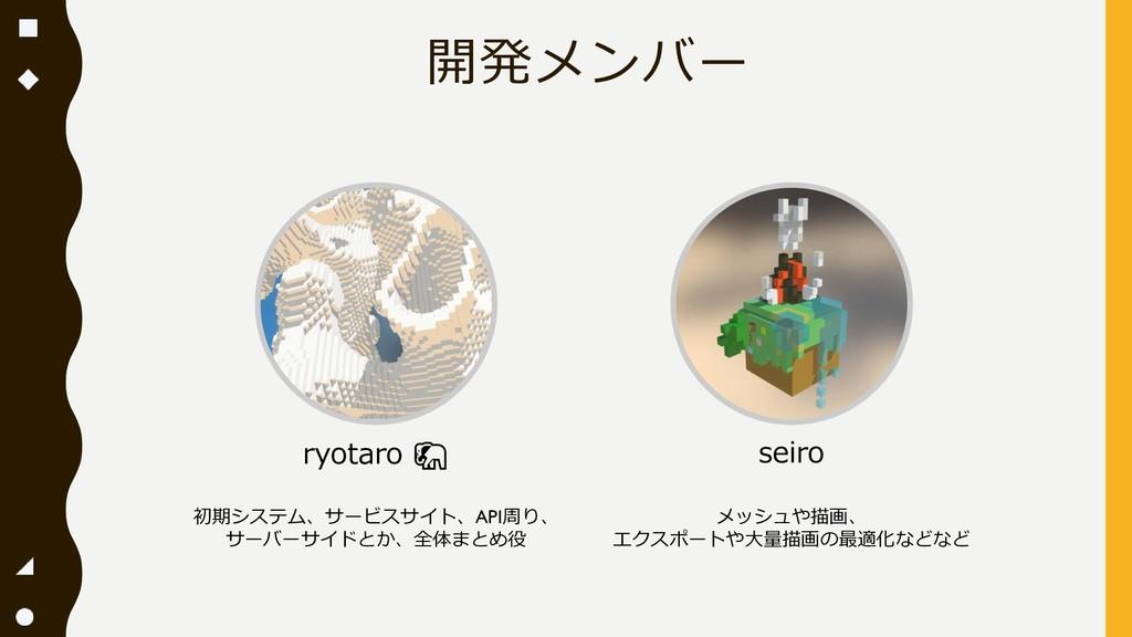 開発メンバー ryotaro  初期システム、サービスサイト、API周り、 サーバーサイドとか...