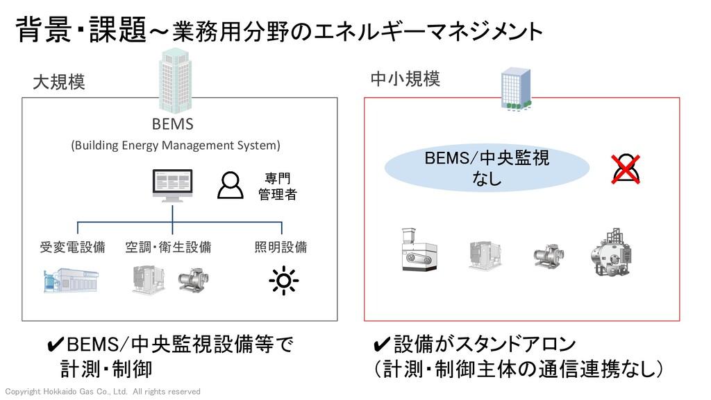 背景・課題~業務用分野のエネルギーマネジメント 中小規模 ✔BEMS/中央監視設備等で  ...