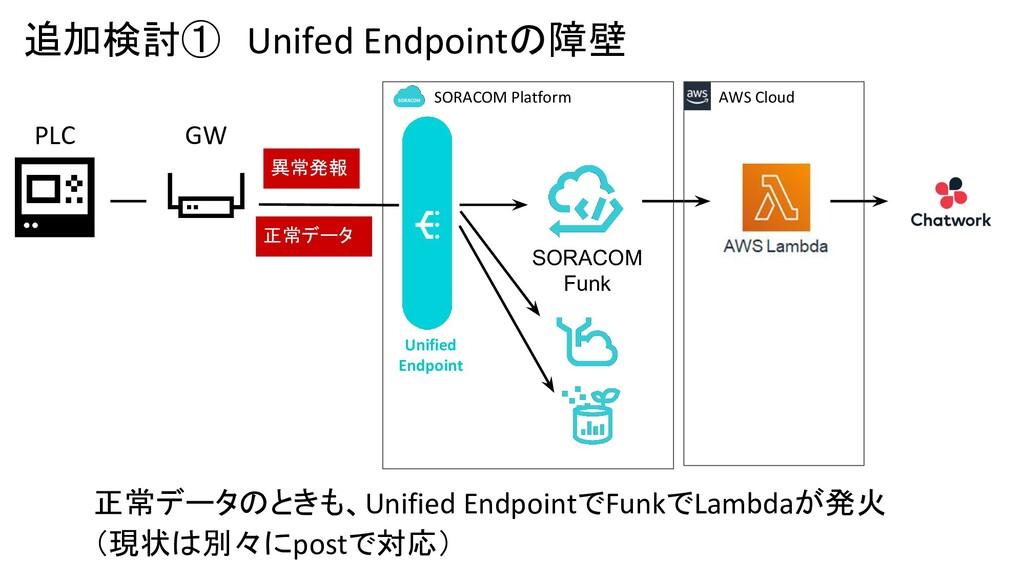 追加検討① Unifed Endpointの障壁 GW PLC SORACOM Funk 異常...