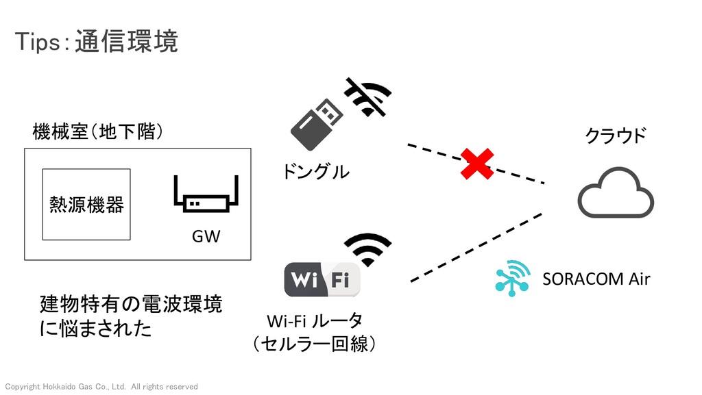 Tips:通信環境 機械室(地下階) 熱源機器 クラウド GW SORACOM Air ドン...