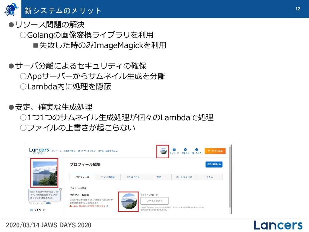 2020/03/14 JAWS DAYS 2020 12 新システムのメリット ●リソース問題...
