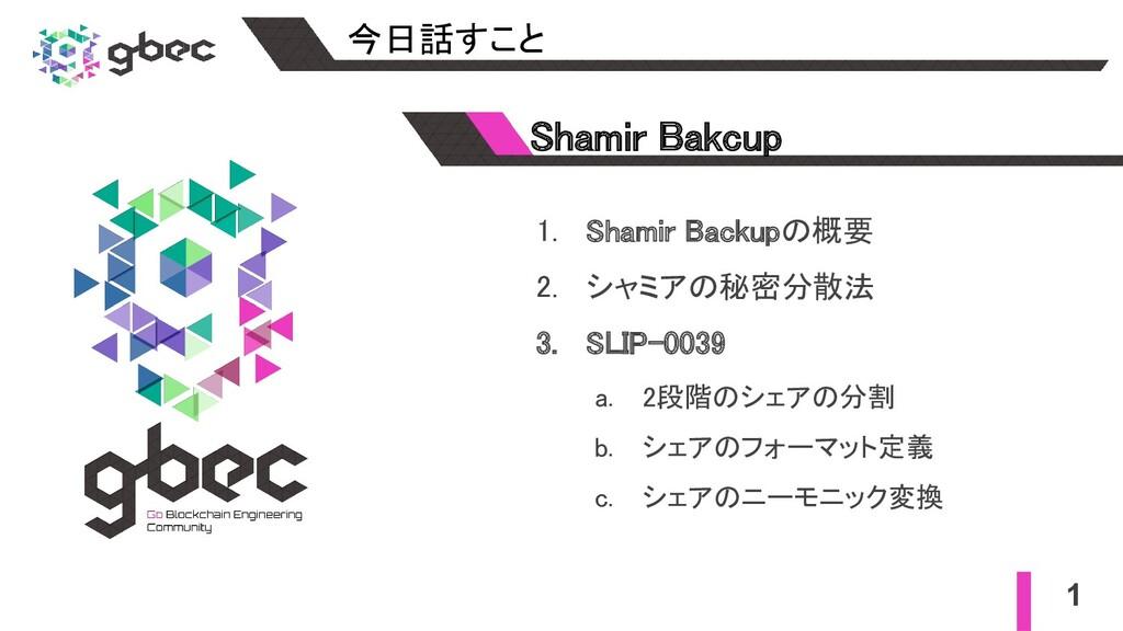 1. Shamir Backupの概要 2. シャミアの秘密分散法 3. SLIP-003...