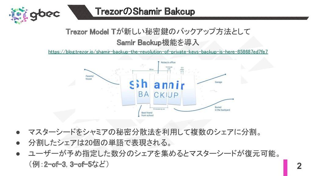 Trezor Model Tが新しい秘密鍵のバックアップ方法として Samir Backup...