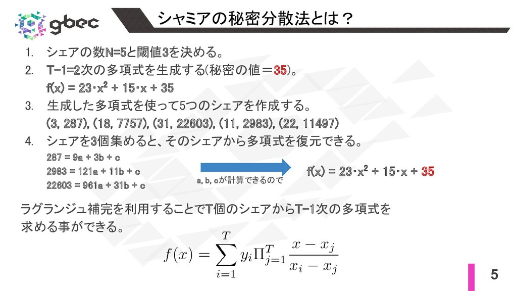 5 シャミアの秘密分散法とは? 1. シェアの数N=5と閾値3を決める。 2. T-1=2...