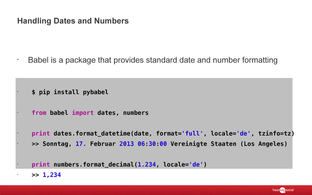Handling Dates and Numbers • Babel is a package...