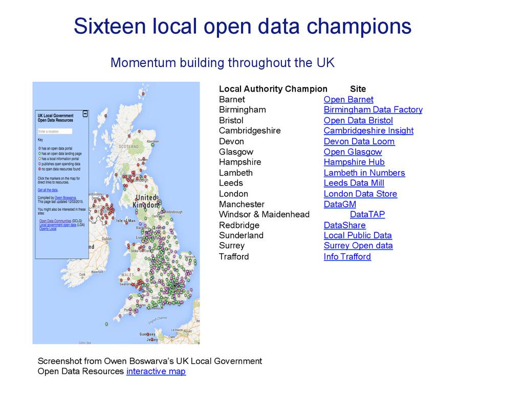 Sixteen local open data champions Local Authori...