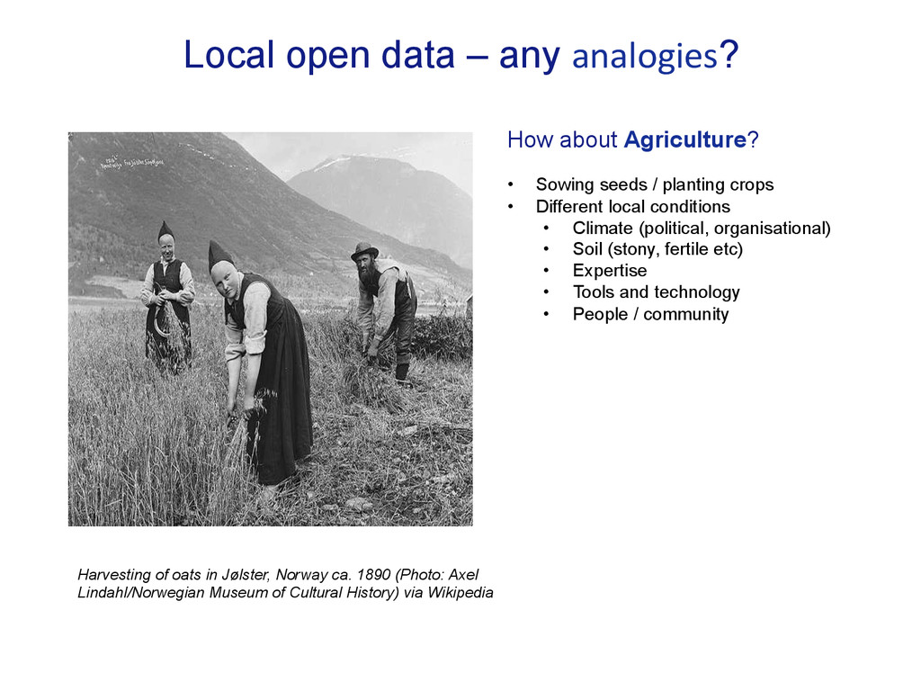 Local open data – any analogies? How about Agri...