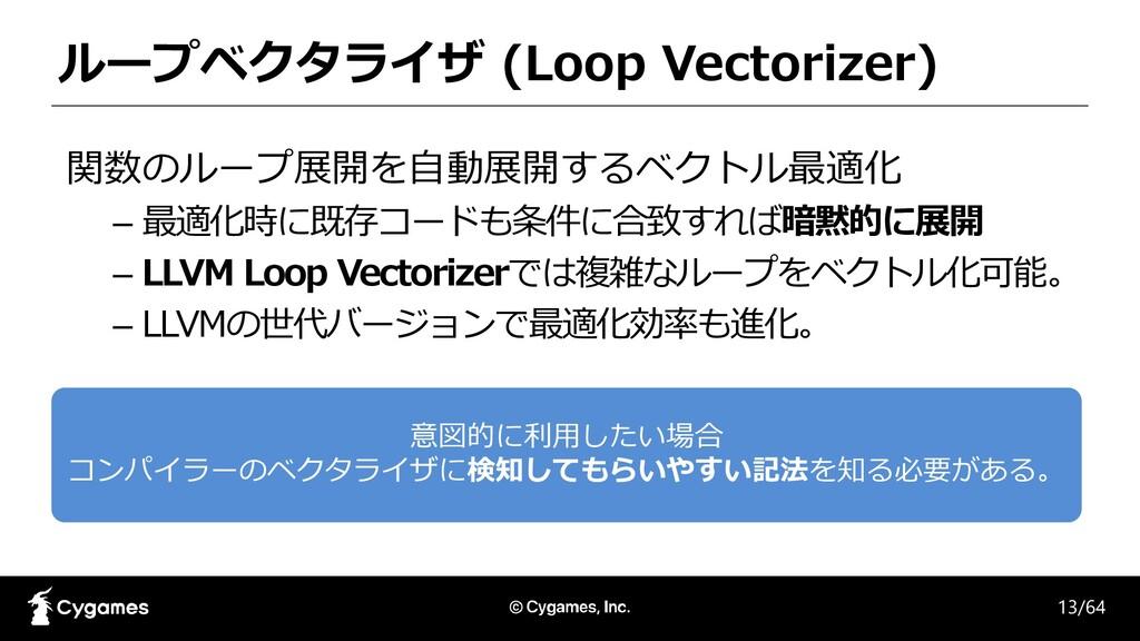 ループベクタライザ (Loop Vectorizer) 関数のループ展開を自動展開するベクトル...