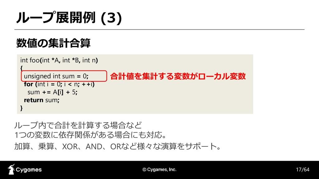 ループ展開例 (3) int foo(int *A, int *B, int n) { uns...