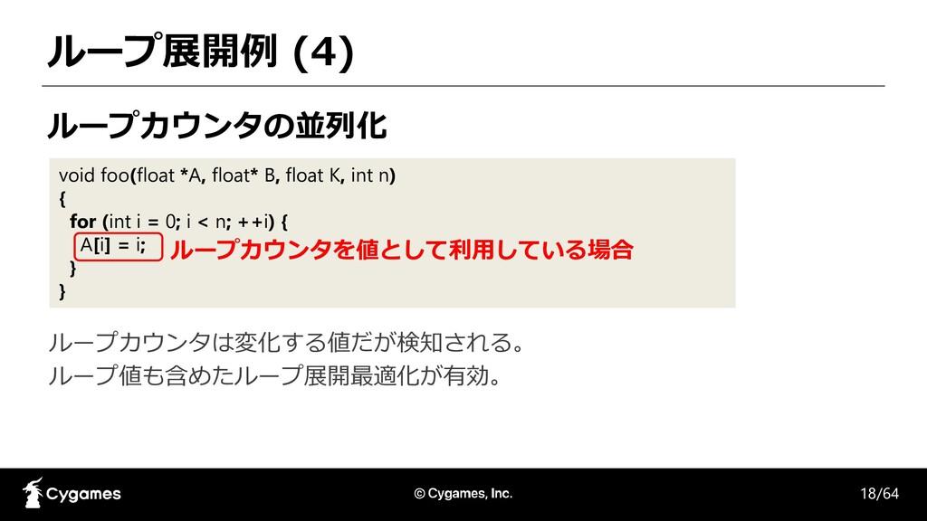 ループ展開例 (4) ループカウンタの並列化 void foo(float *A, float...