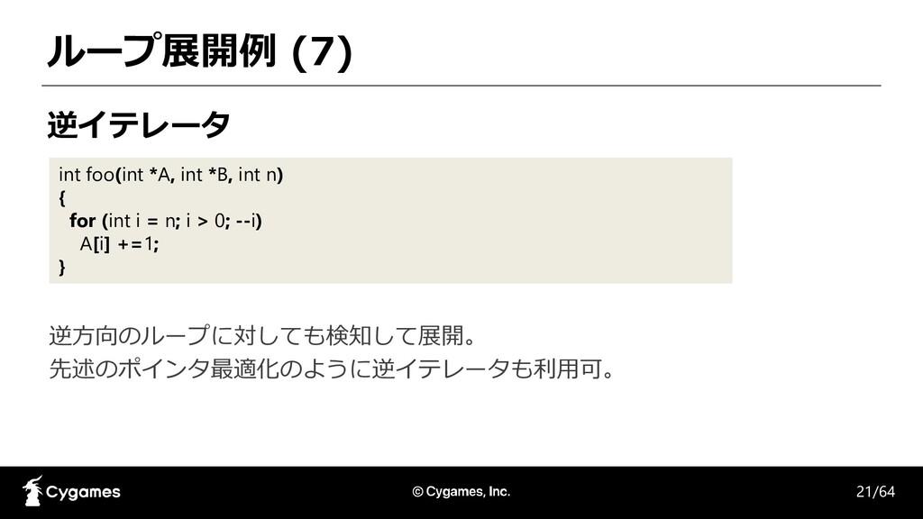 ループ展開例 (7) 逆イテレータ int foo(int *A, int *B, int n...