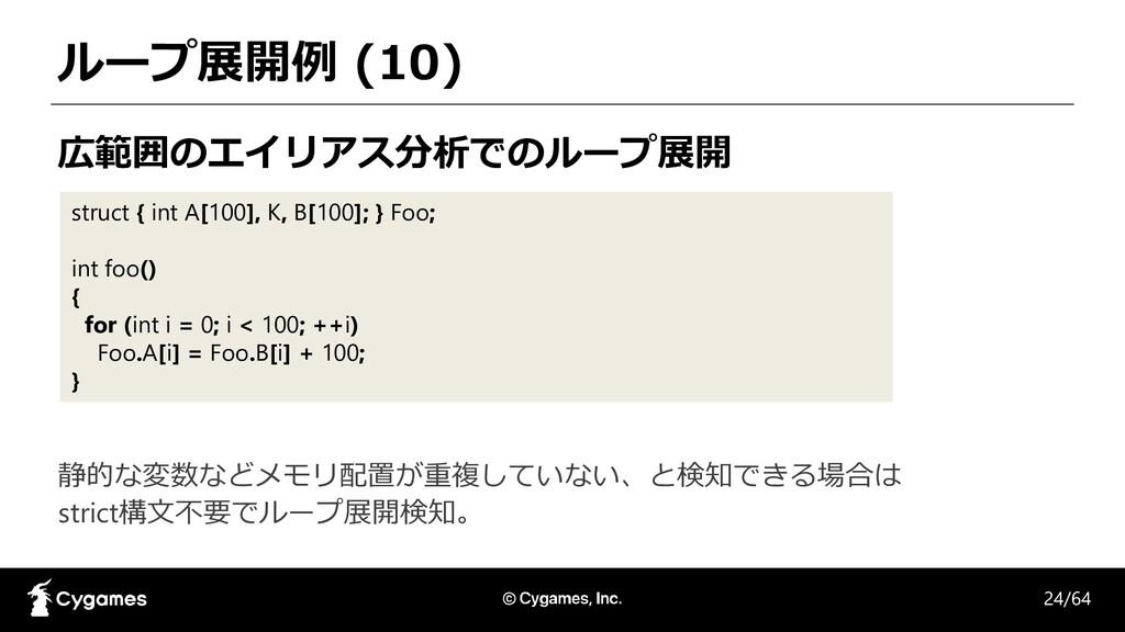 ループ展開例 (10) 広範囲のエイリアス分析でのループ展開 struct { int A[1...