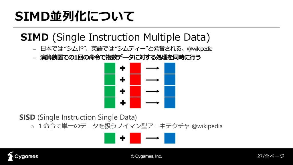 SIMD並列化について 27/全ページ SIMD (Single Instruction Mu...