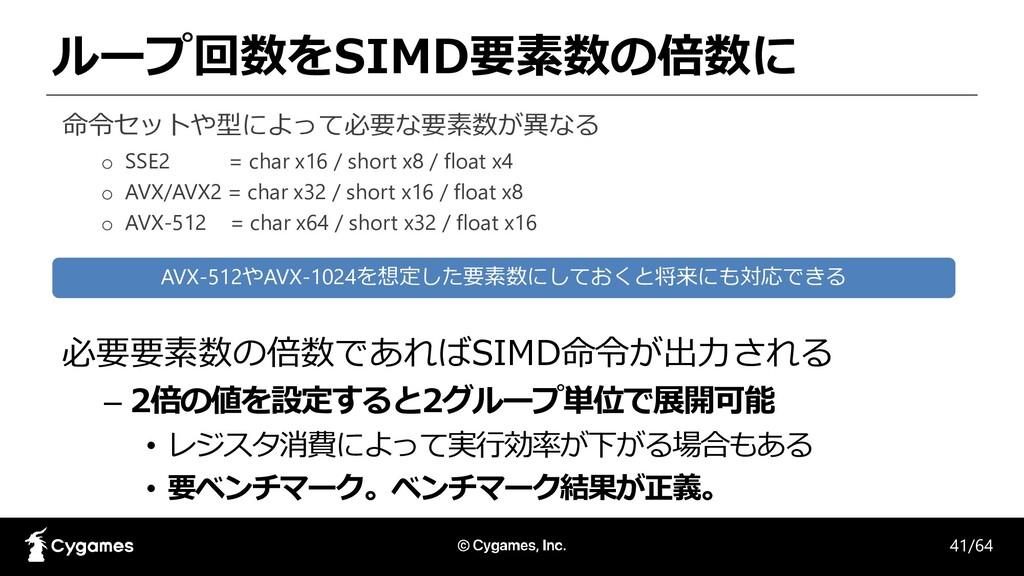 ループ回数をSIMD要素数の倍数に 必要要素数の倍数であればSIMD命令が出力される – 2倍...
