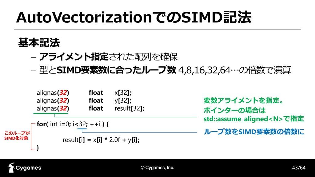 AutoVectorizationでのSIMD記法 基本記法 – アライメント指定された配列を...