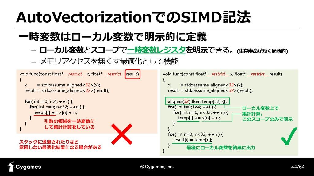 AutoVectorizationでのSIMD記法 一時変数はローカル変数で明示的に定義 – ...