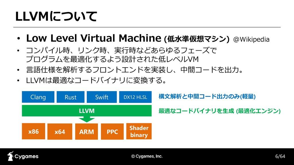 LLVMについて • Low Level Virtual Machine (低水準仮想マシン)...