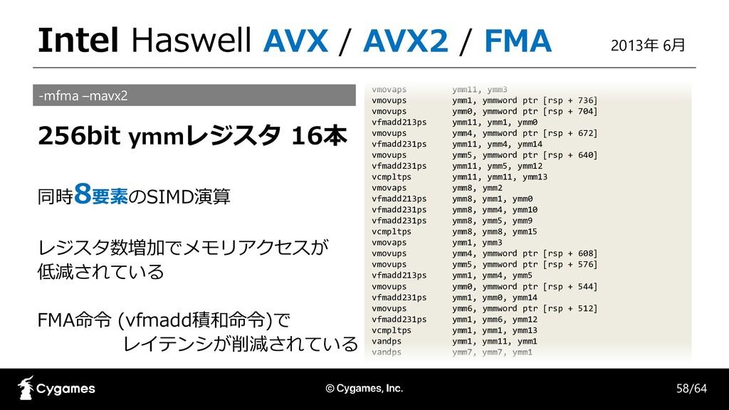 Intel Haswell AVX / AVX2 / FMA vmovaps ymm11, y...