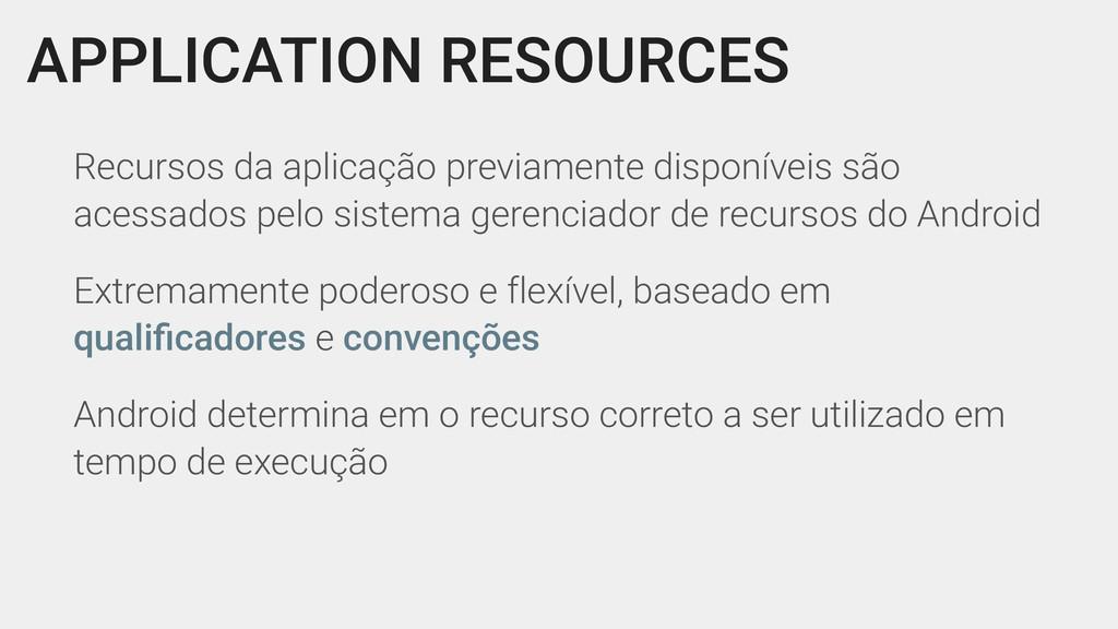APPLICATION RESOURCES Recursos da aplicação pre...