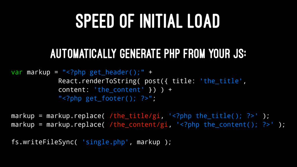 SPEED OF INITIAL LOAD Automatically generate PH...