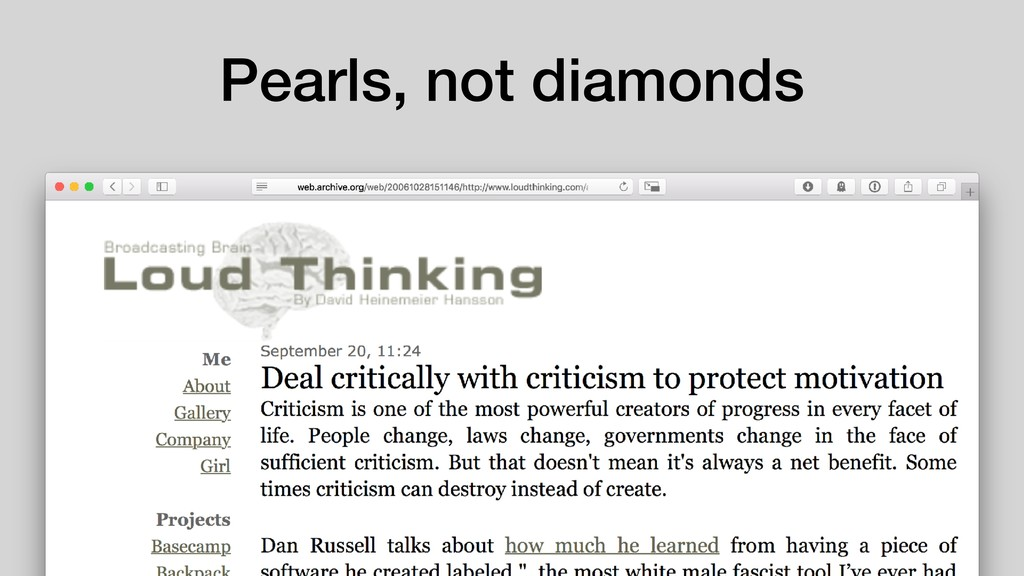 Pearls, not diamonds