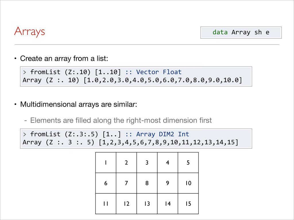 Arrays • Create an array from a list: • Multidi...