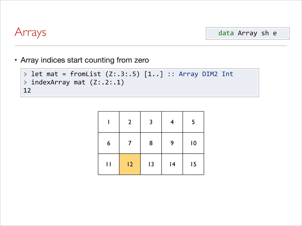Arrays • Array indices start counting from zero...