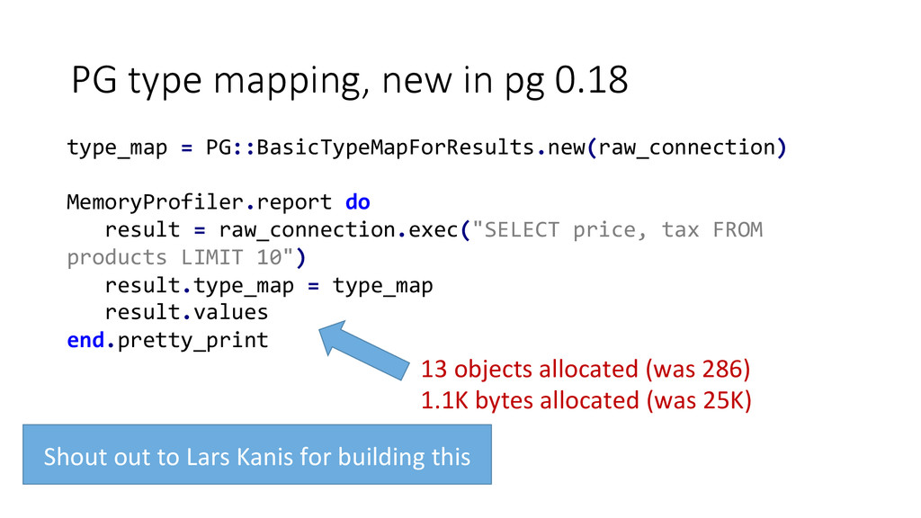 PG type mapping, new in pg 0.18 type_map...