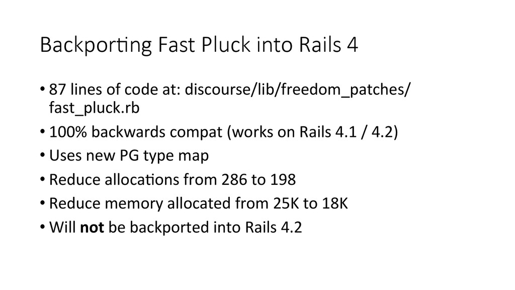BackporEng Fast Pluck into Rails 4 •87...