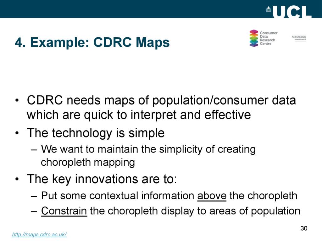 4. Example: CDRC Maps • CDRC needs maps of pop...